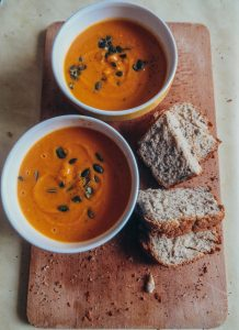 Pumpkin soup and homemade bread