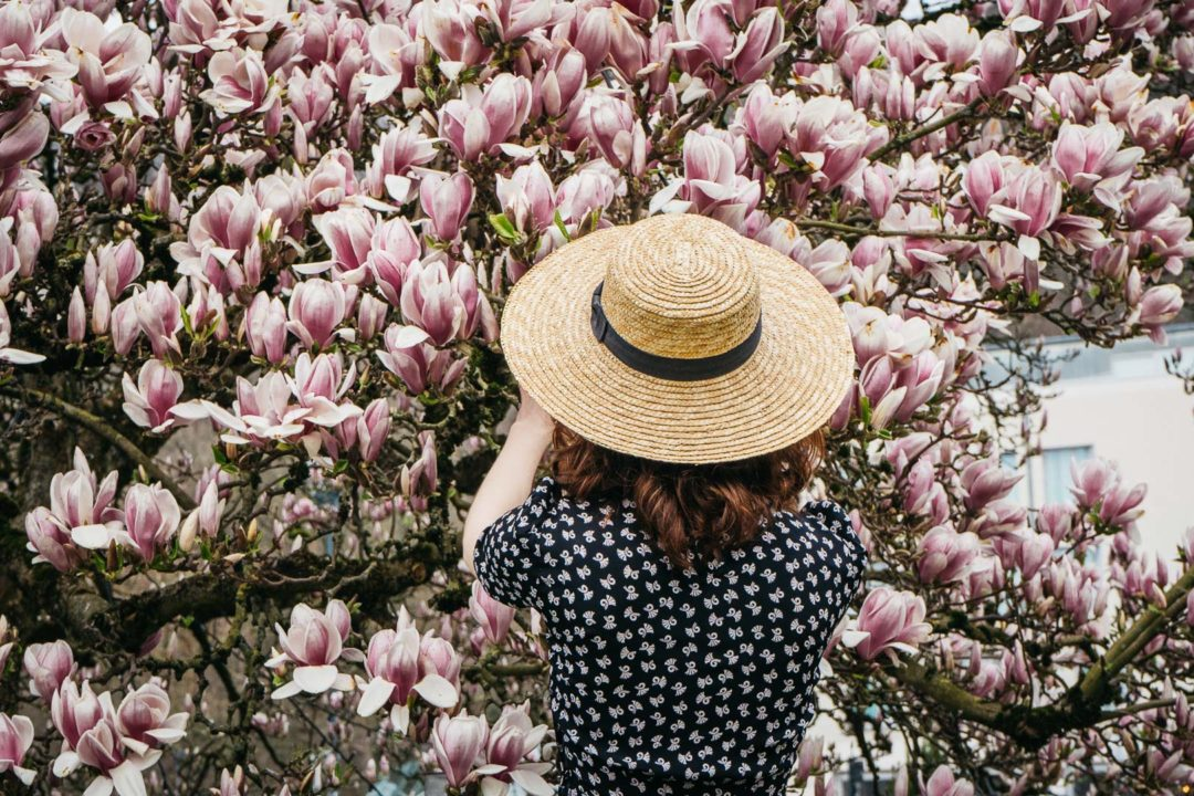 Girl wearing a hat under a blooming magnolia tree in April