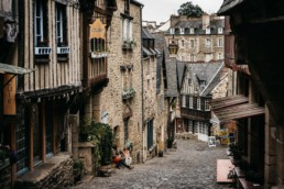 Downhill street in Dinan, France