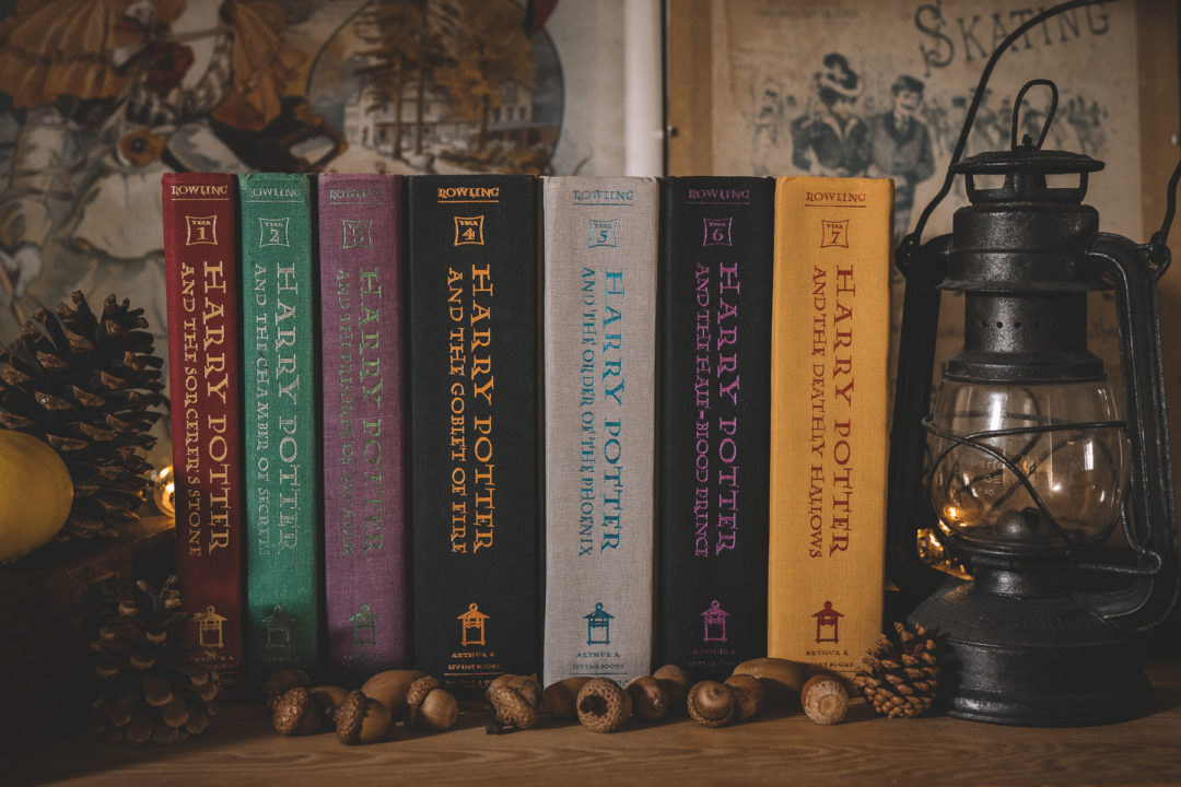 Harry Potter books in autumnal setting