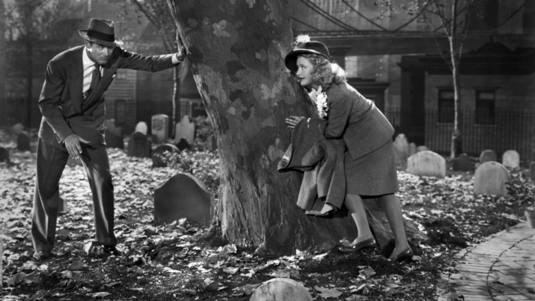 Cary Grant and Priscilla Lane in the movie Arsenic and Old Lace