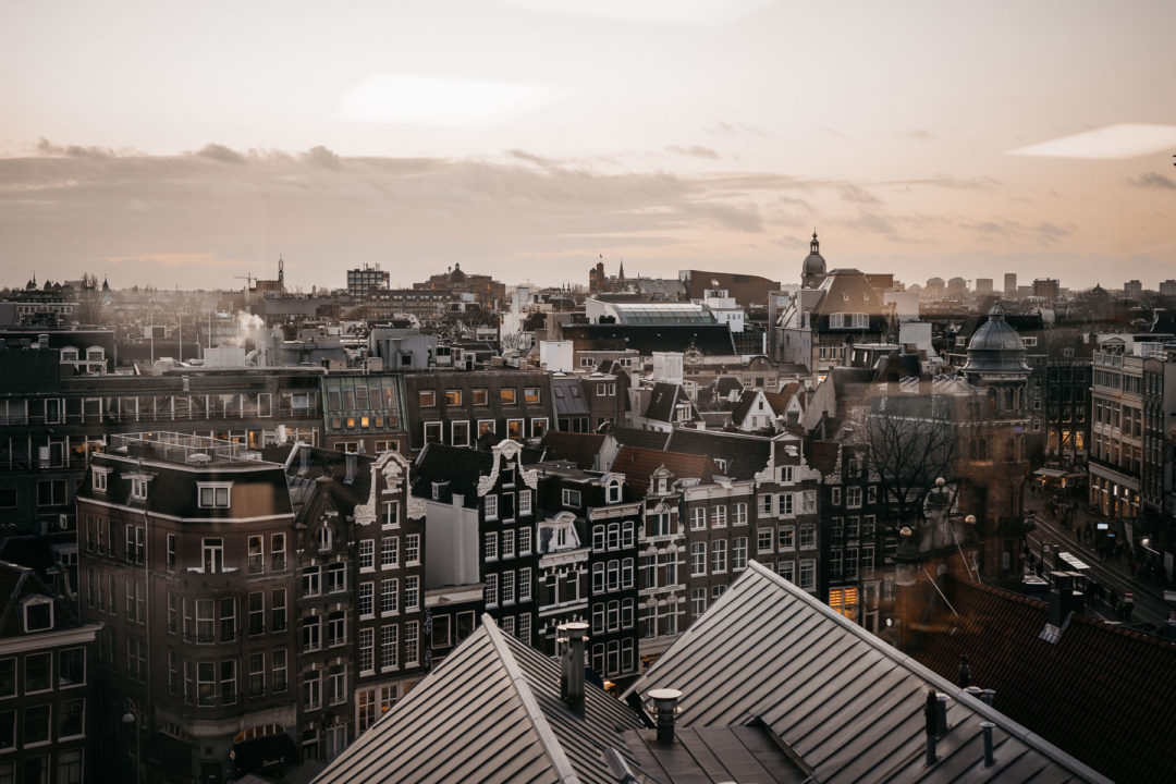 A view of the houses of Amsterdam in December