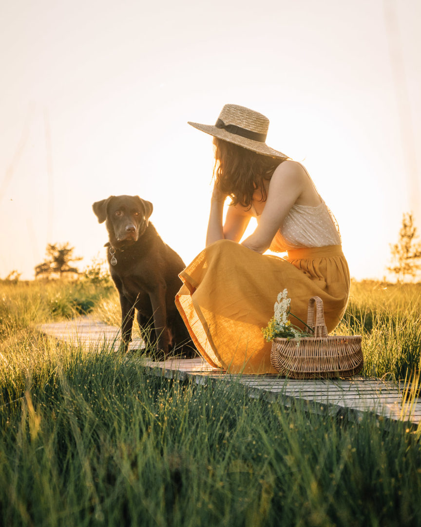 Girl and her dog in nature at sunset