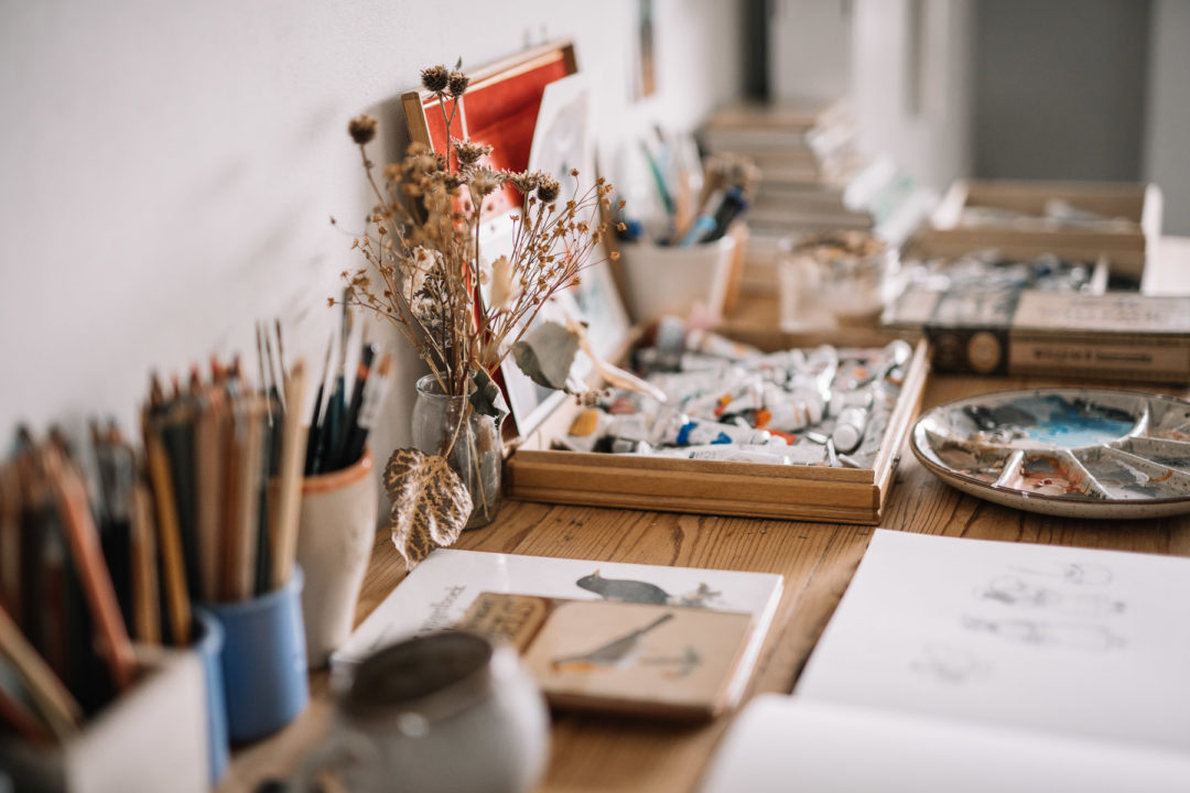 Creative mess on a table for drawing